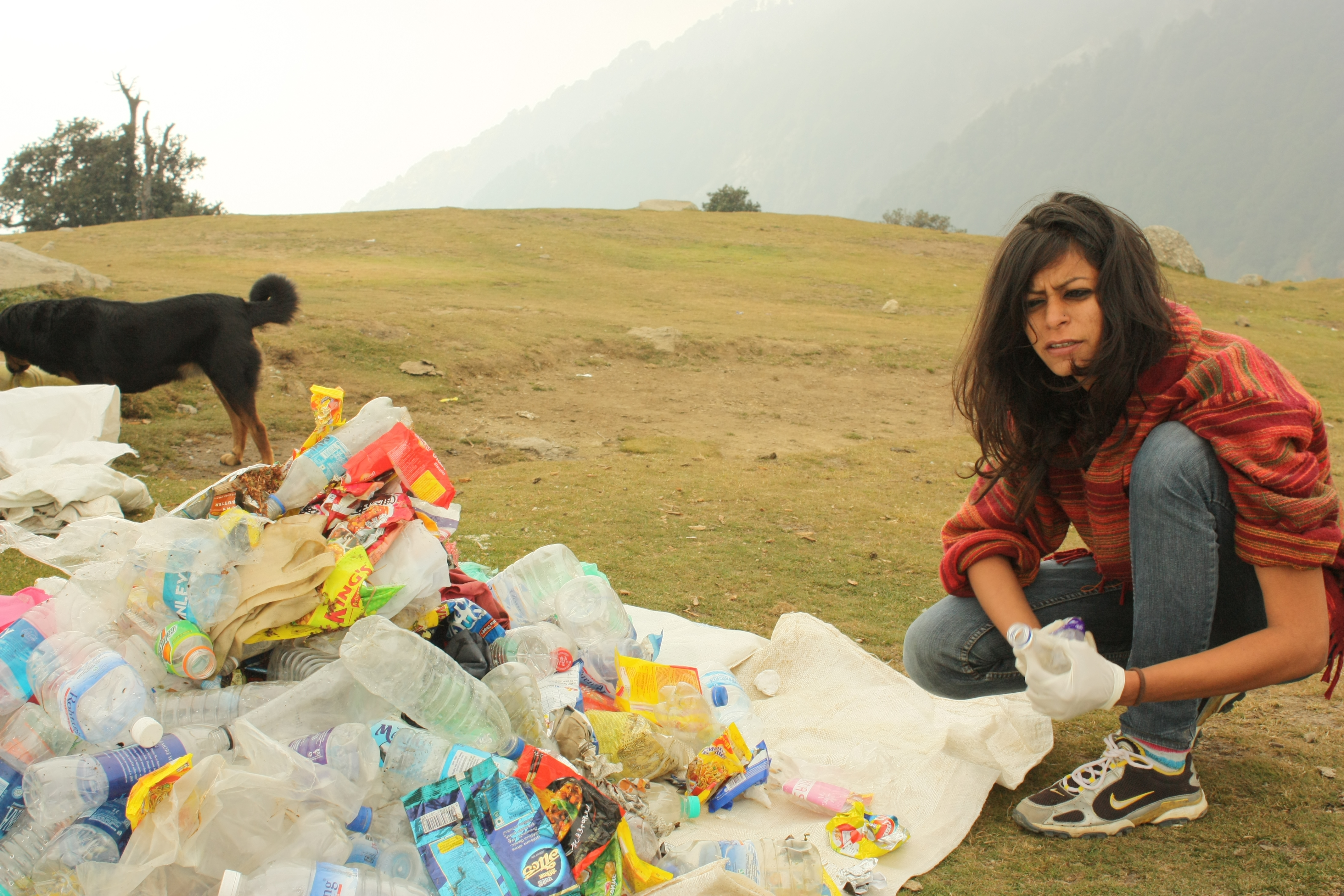 Tashi segregating waste at Triund