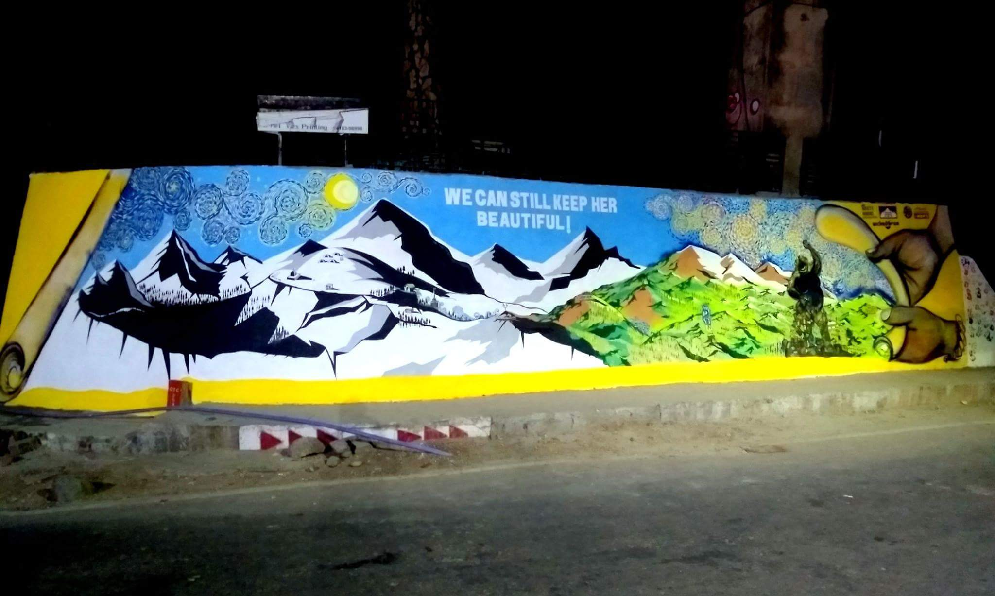Waste Warriors night wide-angle Dharamsala Gandhi Park mural