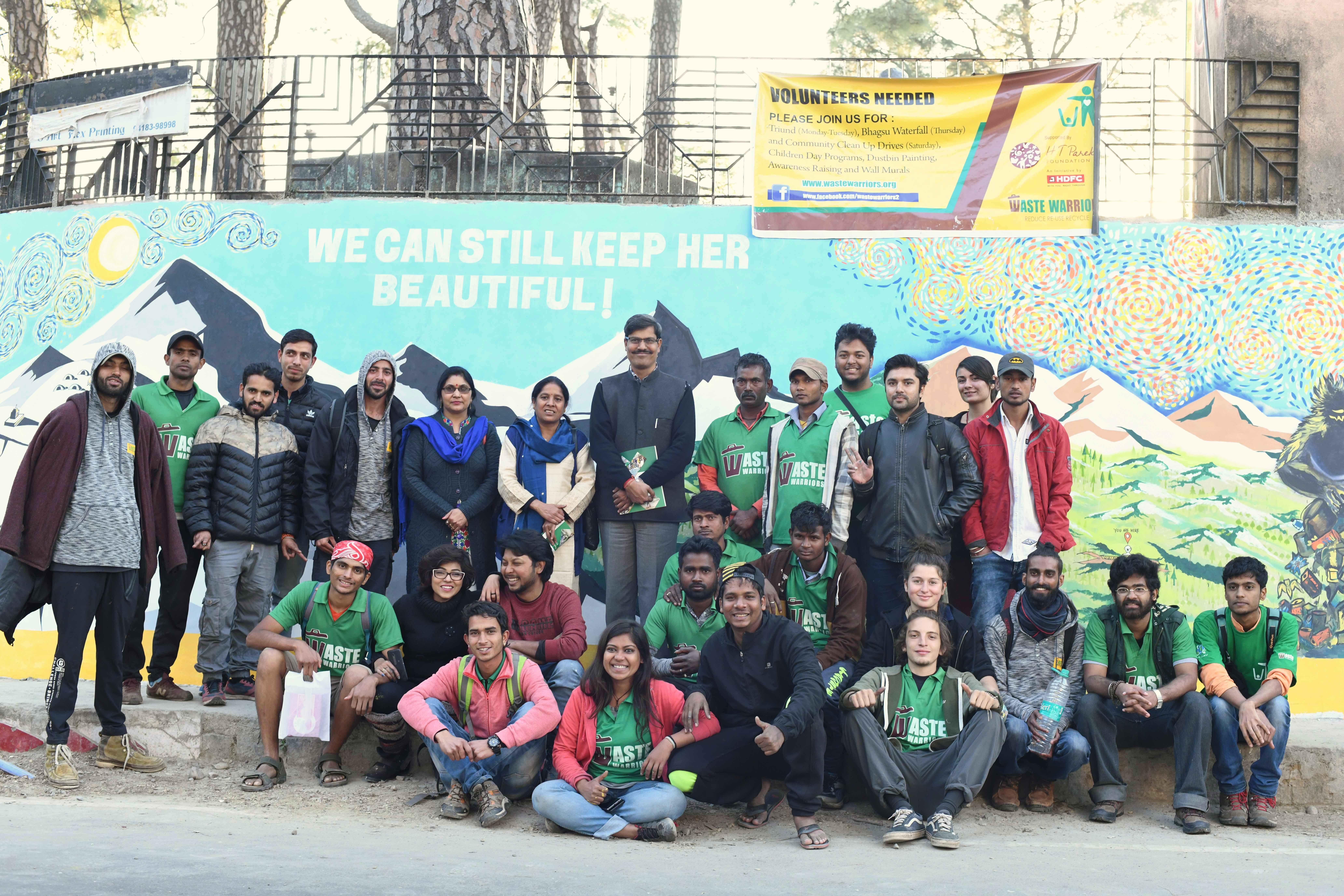 Waste Warriors team at Dharamsala Gandhi Park mural